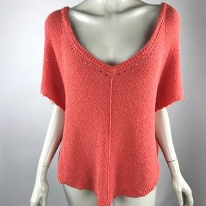 Free People Short Sleeve Pullover Sweater Coral